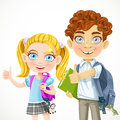 Cute boy and girl ready to new school year schoolboy schoolgirl isolated on white background Royalty Free Stock Photography
