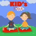 Cute boy and girl sitting on the floor in a lotus position and meditating, kids yoga vector illustration, cartoon style