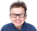 Cute boy great smile eyeglasses isolated white background Royalty Free Stock Photo