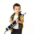 Cute boy with guitar music playing on white background Stock Photos