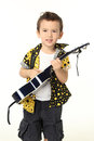 Cute boy with guitar music playing on white background Royalty Free Stock Photos