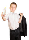 Cute boy in  hand holding  bottle  water isolated on white. Royalty Free Stock Photo