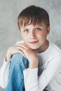 Cute boy happy beautiful child closeup portrait studio Stock Photos