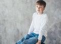 Cute boy happy beautiful closeup portrait sitting child stripes Royalty Free Stock Photos