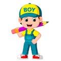 Cute boy holding big pencil Royalty Free Stock Photo
