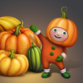 Cute boy in holiday pumpkin costume showing pumpkins pile seasonal harvest illustration cartoon character thanksgiving or Royalty Free Stock Photos