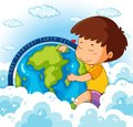 Cute boy hugging earth