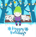 Cute boy hugs his lovely friends dog and cat sitting on a bench holidays illustration vector Royalty Free Stock Image