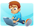 Cute boy internet blogging Stock Photos