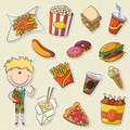 Cute boy with junk food fast sticker set Stock Photo