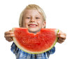 Cute boy peeking through hole in water melon a smiling holding out and a bite a slice isolated on white Royalty Free Stock Photos