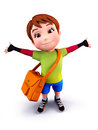 Cute boy with school bag Royalty Free Stock Photos