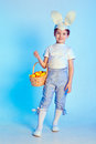 Cute boy wearing bunny ears Royalty Free Stock Photo