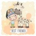 Cute Boyl and Giraffe