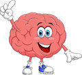 Cute brain cartoon character pointing Royalty Free Stock Photo