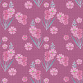 Cute branches of flowers seamless pattern texture on pink checkered background Royalty Free Stock Photo