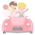 Cute bride and groom driving to honeymoon Stock Images