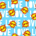 Cute, bright and colorful hand drawn watercolor summer love seamless pattern vector Royalty Free Stock Photo