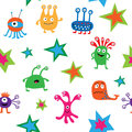 Cute bright seamless texture with aliens and stars