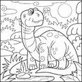 Cute brontosaurus, coloring book