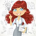 Cute brown curly hair girl with a tablet idea inspiration electronic on doodle background Stock Photos