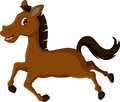 Cute brown horse cartoon running illustration of Stock Image