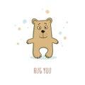 Cute brown teddy bear in a cartoon style and text hug you. Vecto