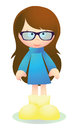 Cute brunette girl with glasses vector for your website or presentation Royalty Free Stock Photo