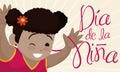 Cute Brunette Girl Smiling and Celebrating Children`s Day in Spanish, Vector Illustration