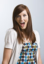 Cute brunette woman shocked Stock Images