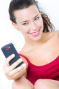 Cute brunette woman taking photo of herself Royalty Free Stock Image