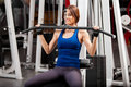 Cute brunette working out in a gym Royalty Free Stock Photo