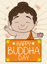 Cute Buddha Holding a Lotus and Greeting Banner for Vesak, Vector Illustration