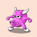 Cute bull cartoon vector