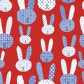 Cute bunnies blue white red seamless pattern