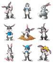 Cute Bunnies cartoon set