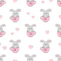 Cute bunnies in cups seamless pattern. Baby print