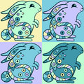 Cute bunnies in ethnic style vector illustration Royalty Free Stock Photography