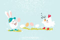 Cute Bunny.Chick singing. Egg dancing. Happy Easter Royalty Free Stock Photo