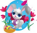 Cute bunny decorative egg easter illustration place text tulips butterfly Royalty Free Stock Photography