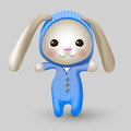 Cute bunny doll vector illustration Stock Photography