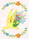 Cute bunny with flowers in a frame of flowers.Cute hand drawn animal characters for kids design.Mothers day greeting