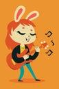 Cute Bunny Girl Playing Guitar