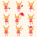 Cute bunny girls set Royalty Free Stock Images