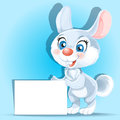 Cute bunny holding banner in his paws Stock Photos