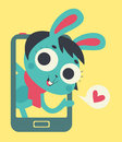 Cute Bunny Lover Girl Showing on Phone Screen Royalty Free Stock Photo