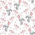 Cute Bunny. Seamless Pattern with rabbit. Funny cartoon characters with hearts isolated on a white background. Watercolor illustra