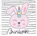 Cute bunny unicorn vector illustration for children design