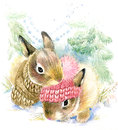 Cute bunny in winter forest.
