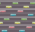 Cute bus on the road pattern